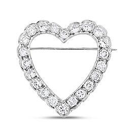 14k White Gold 2.30ct. Diamond Heart Pendant Brooch