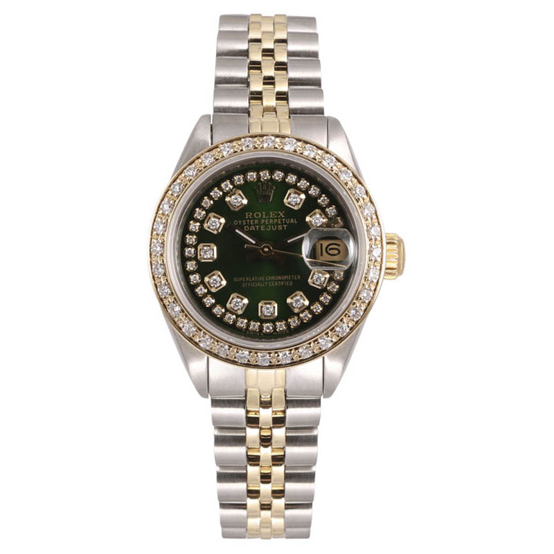 """Image of """"Rolex Lady Datejust Stainless Steel and 18K White Gold Green Diamond"""""""