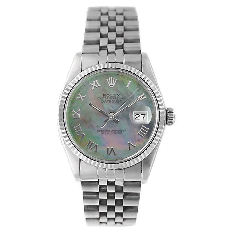 "Image of ""Rolex Datejust 16014 Stainless Steel Tahitian MOP Roman Dial Mens"""