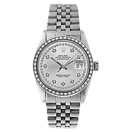 Rolex Datejust 16234 Stainless Steel Silver String 1ct Diamond Dial & Bezel Mens Watch