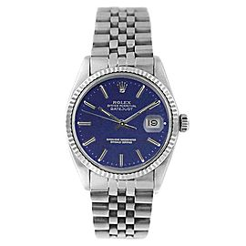 Rolex Datejust 16234 Stainless Steel Blue Stick Dial 18K Gold Fluted Bezel Mens Watch