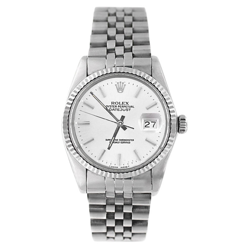 """Image of """"Rolex Datejust 16234 Stainless Steel White Stick Dial 18K Gold Fluted"""""""