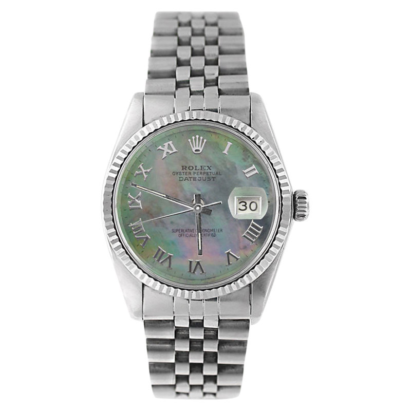 "Image of ""Rolex Datejust 16234 Stainless Steel Tahitian MOP Roman Dial 18K Gold"""