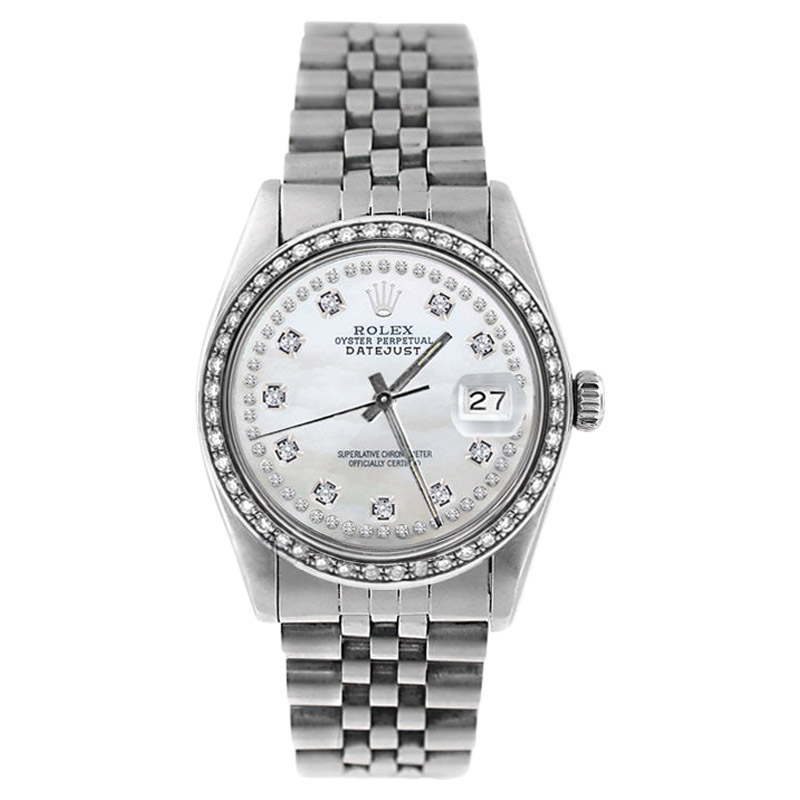 "Image of ""Rolex Stainless Steel Datejust 16234 MOP String Diamond Dial Mens"""