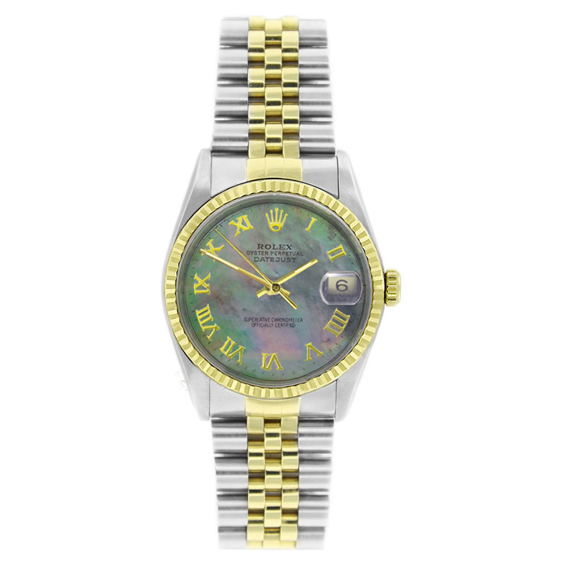 """Image of """"Rolex Datejust 16233 Stainless Steel & Gold Tahitian MOP Roman Dial"""""""