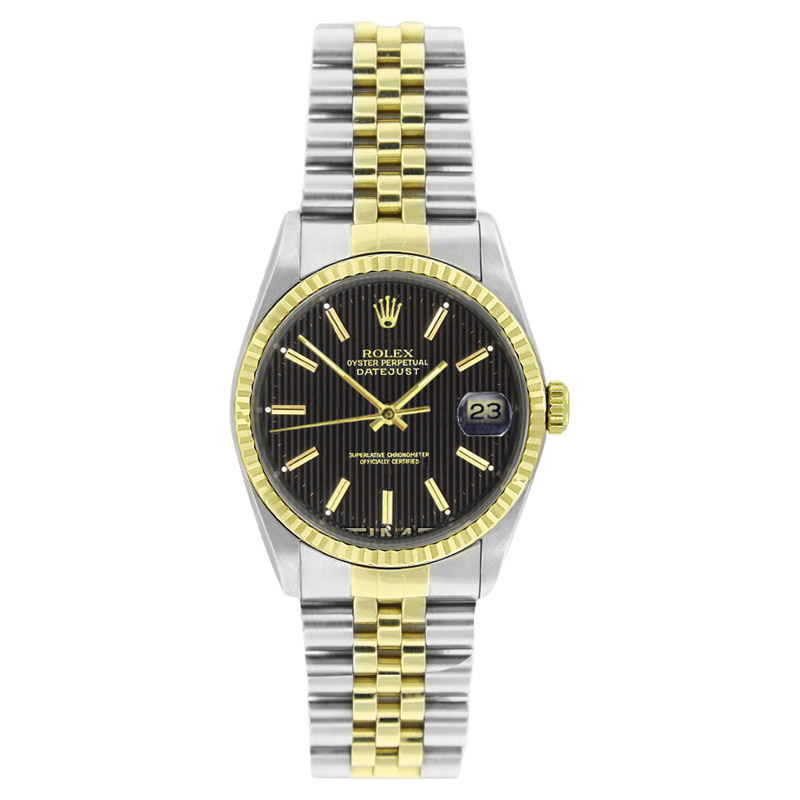 """Image of """"Rolex Datejust 16233 Stainless Steel & Gold Black Tapistry Stick Dial"""""""