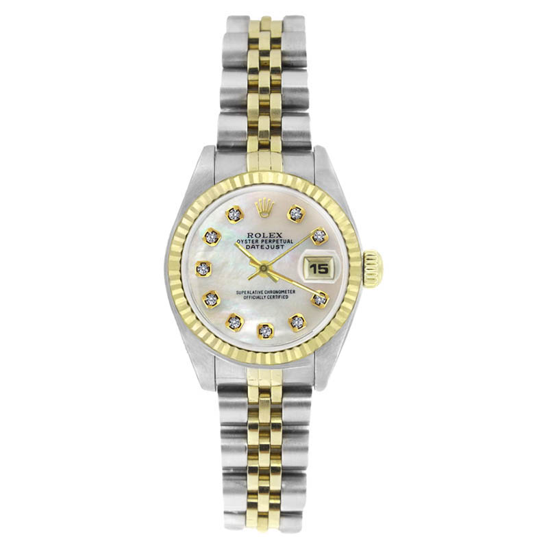 "Image of ""Rolex Datejust 69173 Stainless Steel & Gold MOP Diamond Dial Womens"""