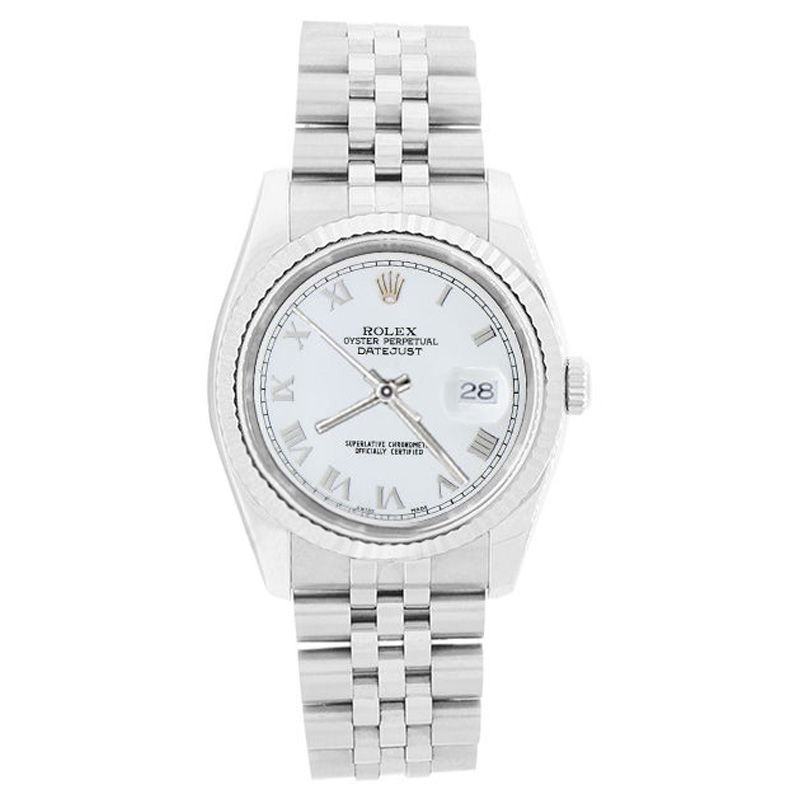 """Image of """"Rolex Datejust 116234 Stainless Steel 18K Gold Bezel White Roman Dial"""""""