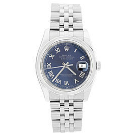 Rolex Datejust 116200 Stainless Steel Blue Roman Dial Smooth Bezel Mens Watch