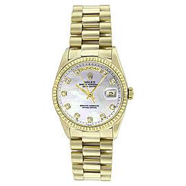 Rolex President 18238 18K Gold MOP Diamond Dial Mens Watch