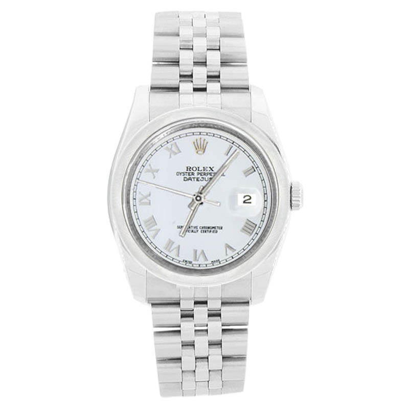 "Image of ""Rolex Datejust 116200 Jubilee Stainless Steel White Roman Dial Mens"""