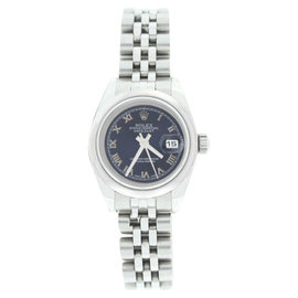 Rolex Datejust 179160 Stainless Steel Style Blue Roman Dial Smooth Bezel Watch