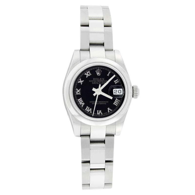 """Image of """"Rolex Datejust 179160 Oyster Stainless Steel Black Roman Dial Womens"""""""