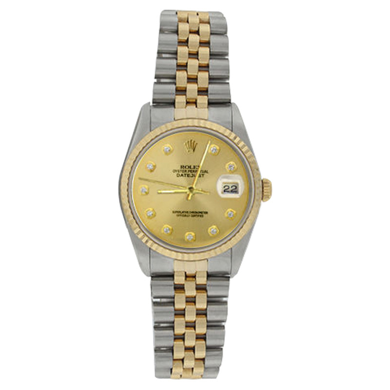 """Image of """"Rolex Datejust 16233 Stainless Steel & Gold Champagne Diamond Dial 18K"""""""