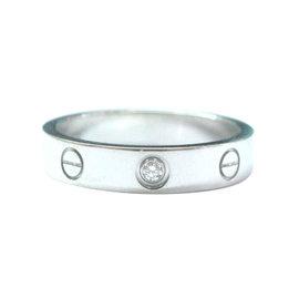 Cartier Love Ring White Gold 1 Diamond Size 6.5