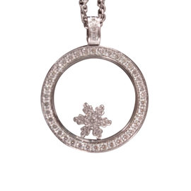 Chopard 18K White Gold Snowflake Diamond Pendant Necklace
