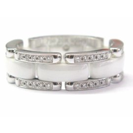 Chanel 18K White Gold Ultra White Ceramic Diamond Band Ring