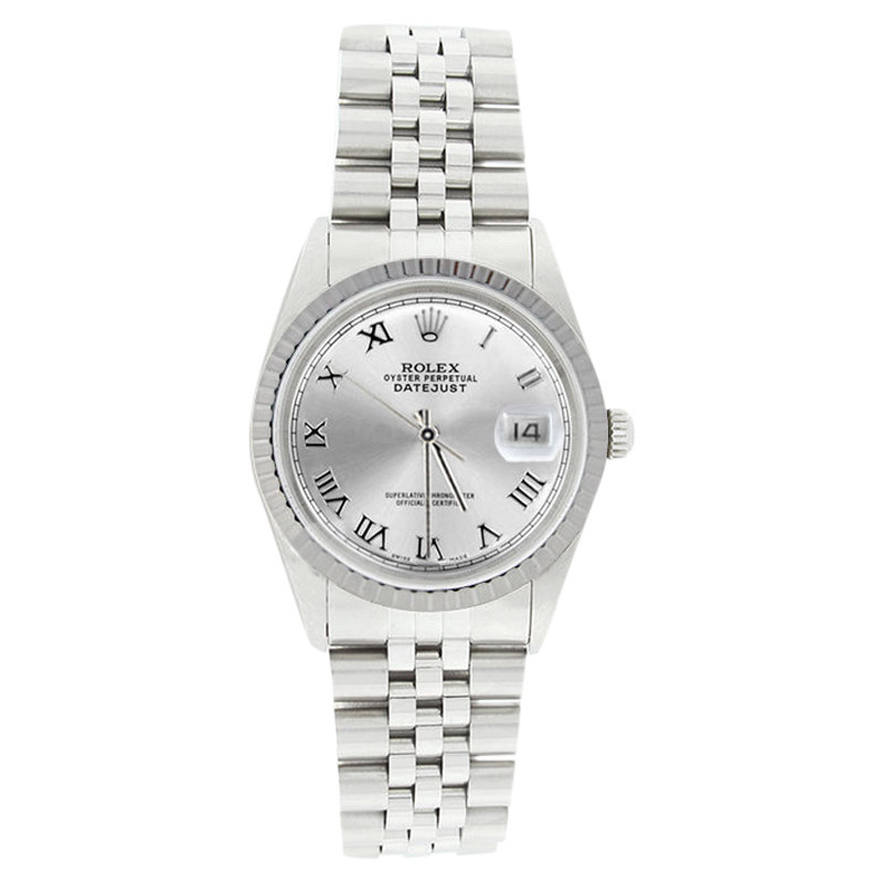 """Image of """"Rolex Datejust 16220 Stainless Steel Silver Roman Dial Engine Turn"""""""