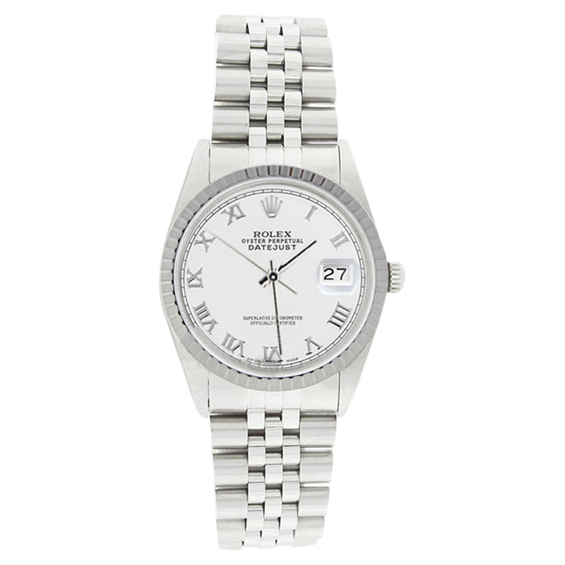 """Image of """"Rolex Datejust 16220 Stainless Steel White Roman Dial Engine Turn"""""""