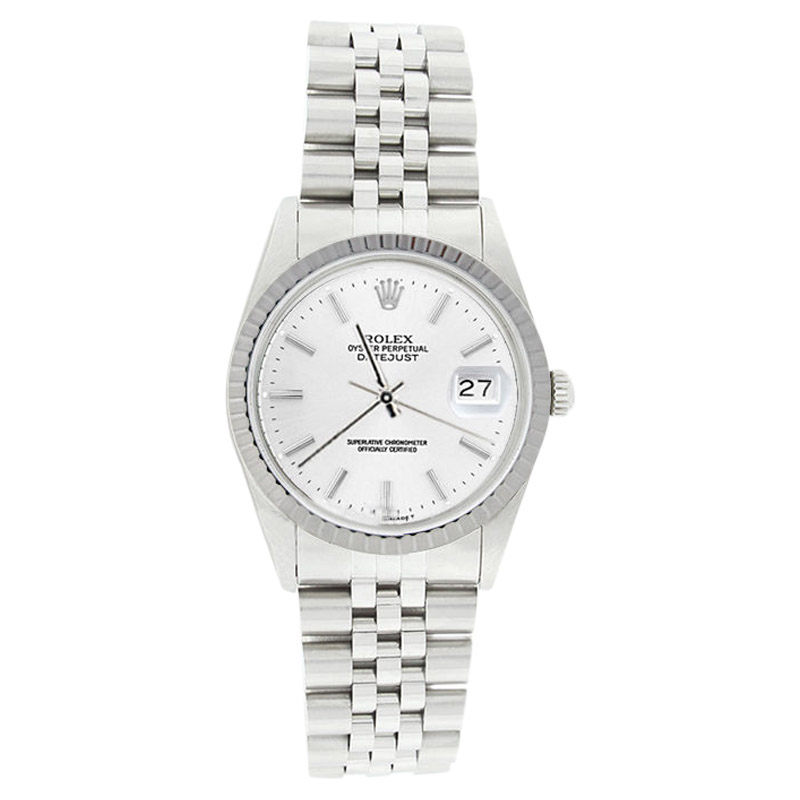 """Image of """"Rolex Datejust 16220 Stainless Steel White Stick Dial Engine Turn"""""""