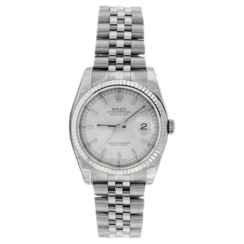 """Image of """"Rolex Datejust 116234 Stainless Steel Silver Stick Dial 18K Gold Bezel"""""""