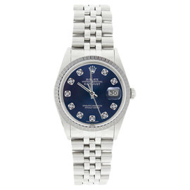 Rolex Datejust 16220 Stainless Steel Blue Diamond Dial Mens Watch