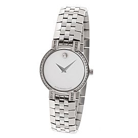 Movado 84 a1 1845s Diamond Bezel Mother of Pearl Stainless Quartz Watch