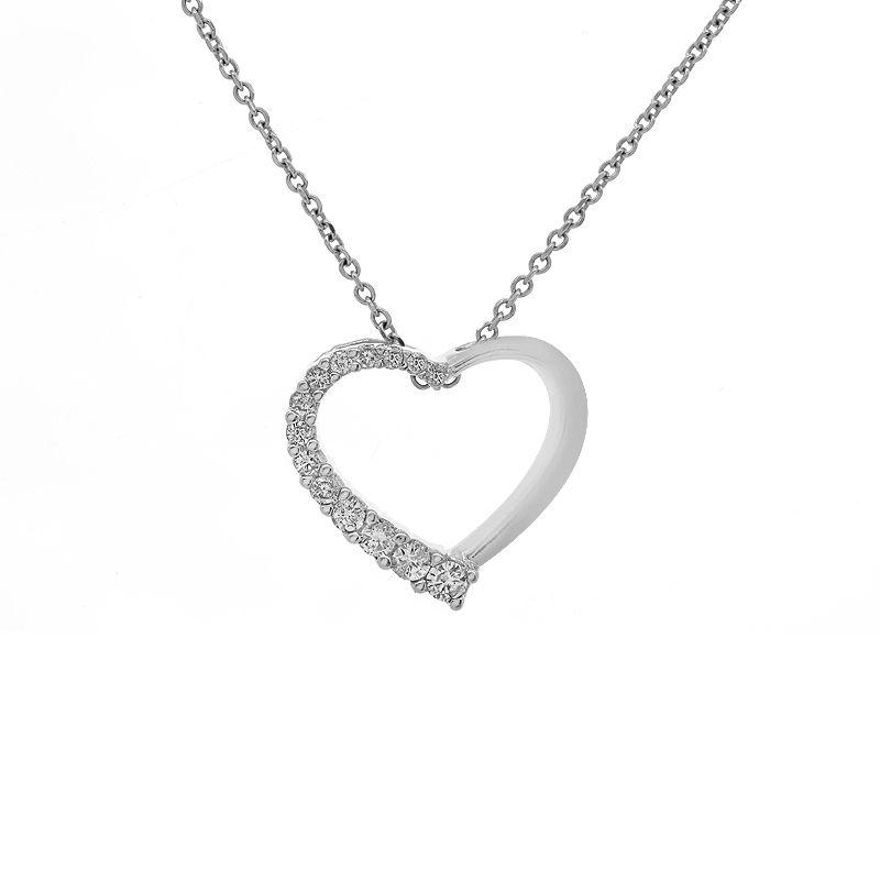 "Image of ""14K White Gold 0.37ct Round Brilliant Diamond Heart Pendant"""