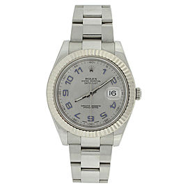 Rolex Datejust II 116334 Oyster Stainless Steel Silver Arabic Dial Mens Watch