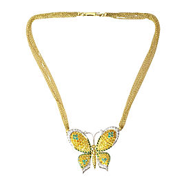 Chimento 18K Yellow & White Gold Emerald, Sapphire & Diamond Butterfly Necklace