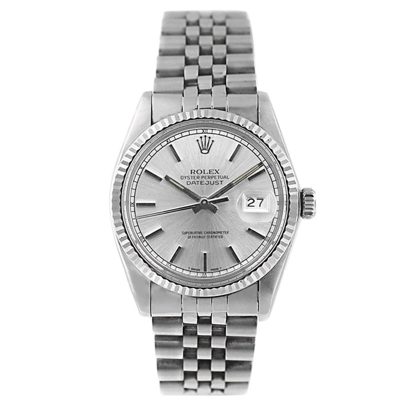 "Image of ""Rolex Datejust 16014 Stainless Steel Silver Stick Dial Mens Watch"""