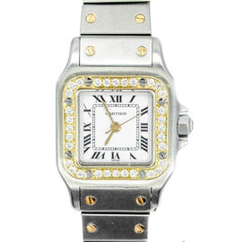 Cartier Santos Stainless Steel & 18K Diamond 27mm Watch