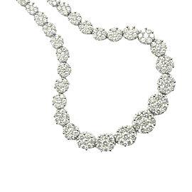 Fope Gioielli 18K White Gold Diamond Circular Cluster Tennis Necklace