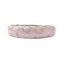 Roberto Coin 18K White Gold, Pink Enamel & Diamond Bracelet