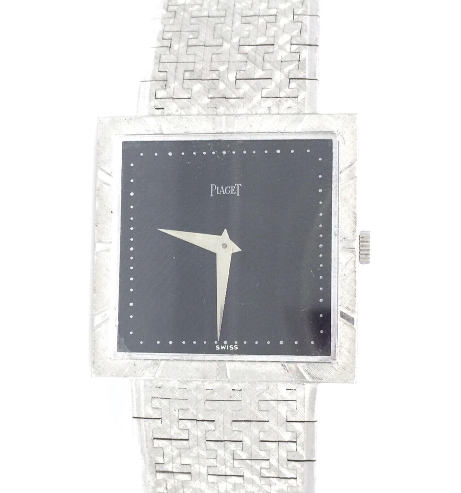 "Image of ""Piaget 18K White Gold & Black Dial Vintage 25.4mm Mens Watch"""
