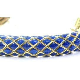 David Webb 18Kt Blue Enamel Yellow Gold Bracelet