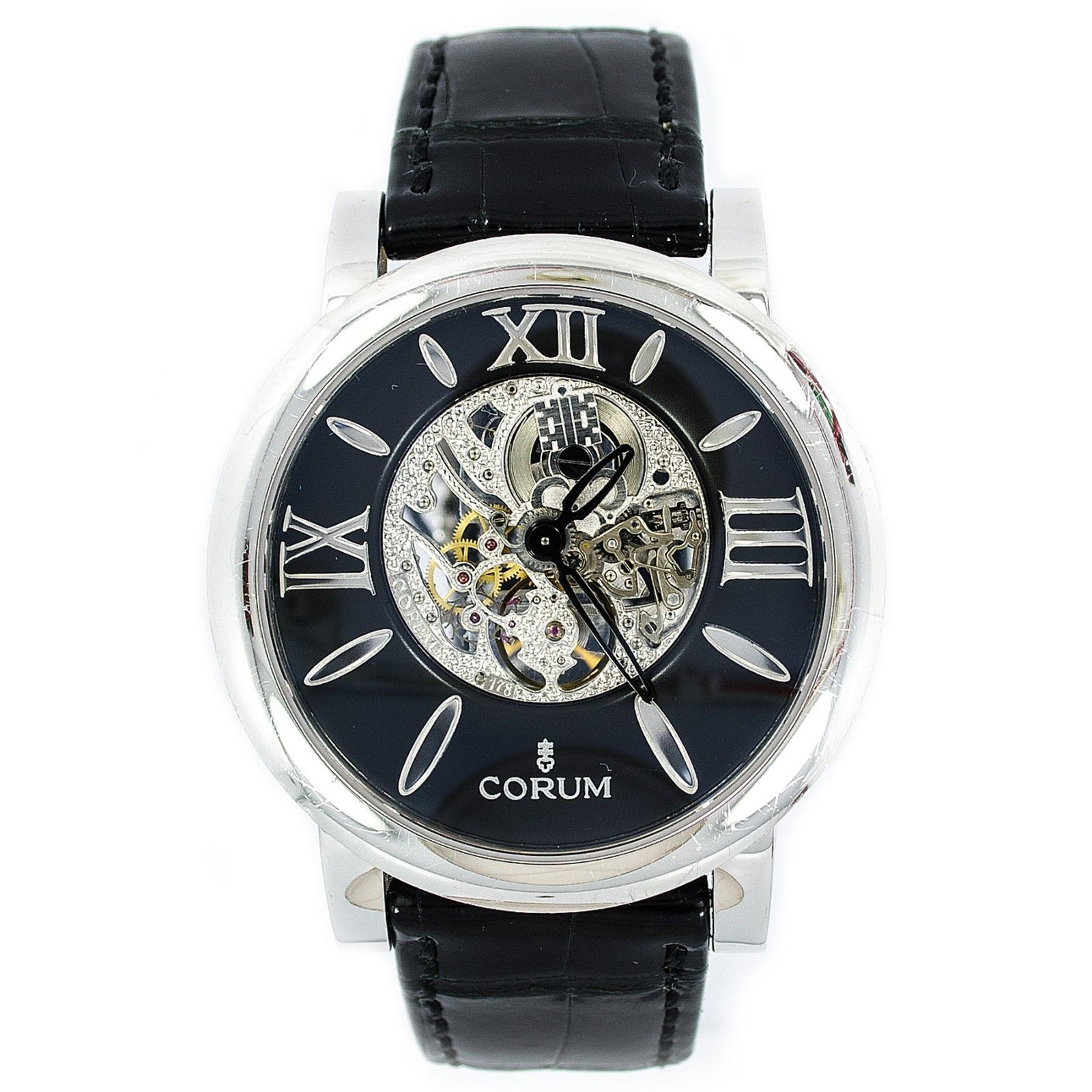 "Image of ""Corum 1756361 18K White Gold Original Leather Band Skeleton Back"""