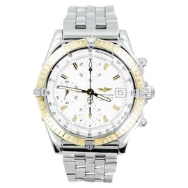 Breitling Chronomat D13352 Date Chrono 18K Gold Bezel Stainless Steel Mens Watch
