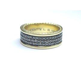 David Yurman 18k 3-Row Black Diamond Pave Yellow Gold Band Ring
