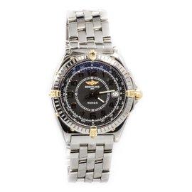 Breitling B66050 Wings Two-Tone Bezel Black Dial Quartz Men's Watch