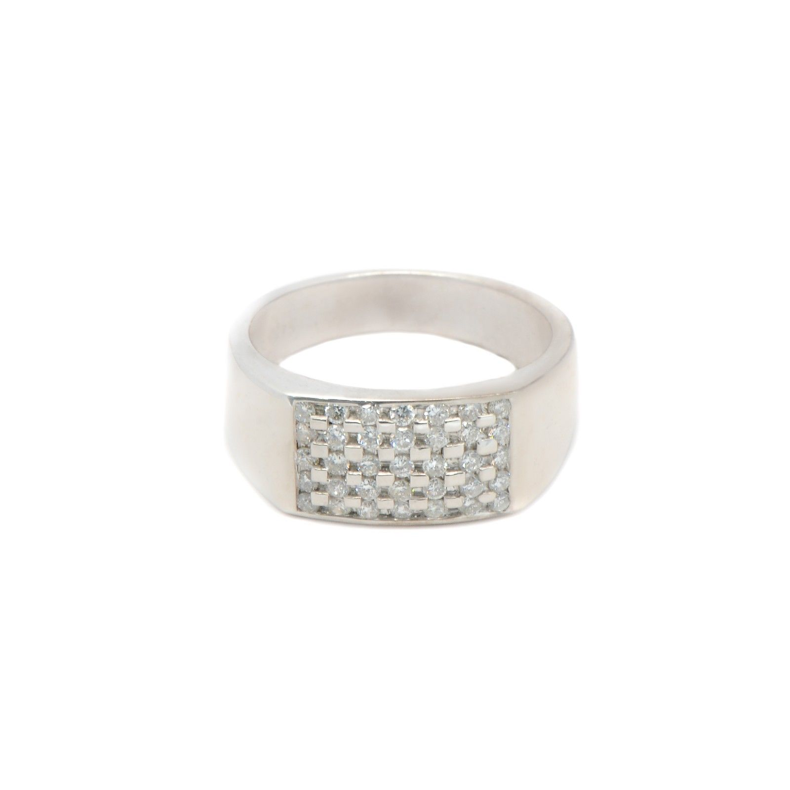 "Image of ""14K White Gold Round Stone Ring"""