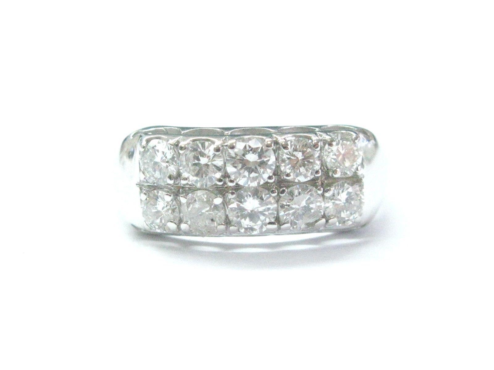 "Image of ""White Gold Fine 2-Row Round Cut 1.02 ct Diamond Jewelry Ring"""