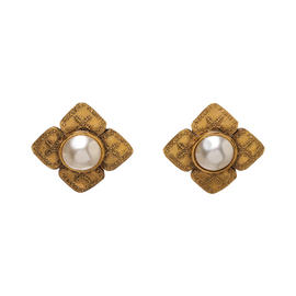 Chanel Gold Tone Hardware and Faux Pearl Clip On Earrings