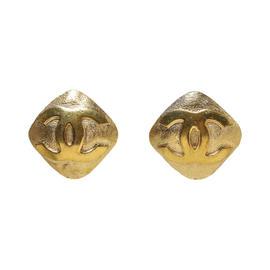 Chanel Gold CC Diamond Clip On Earrings