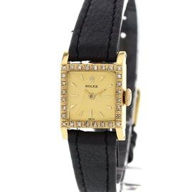 Rolex Diamond Bezel 18K Yellow Gold Womens Watch