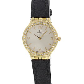 Omega 18K Yellow Gold Diamond Bezel Womens Watch