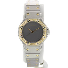 Cartier Santos Octagon 18K Gold & Diamond Bezel Automatic Womens Watch