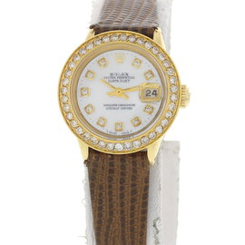 Rolex 18K Yellow Gold Date 6516 Diamond Bezel Ladies