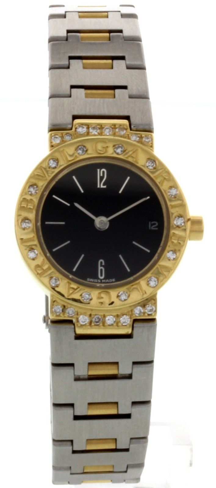 "Image of ""Bulgari 18K Gold & Stainless Steel Diamonds Womens Watch"""