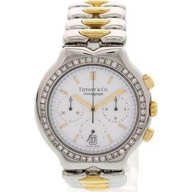 Tiffany & Co. M0322 18K Gold & SS Chronograph Diamonds Mens Watch